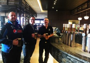 The boys tasting the first beers at our new members lounge & bar – now serving a mix of craft, boutique and regional products.